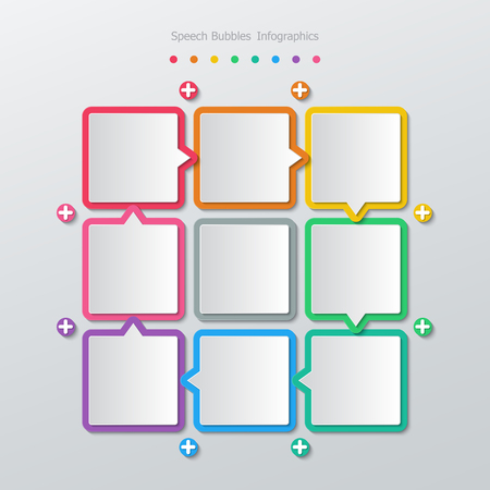 eight note: colorful paper rectangle speech bubbles eight step infographics in flat design style.