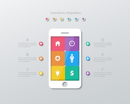 six paper options within smartphone screen infographics in flat design style. Vector