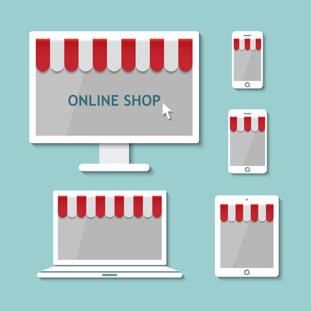awnings: online shop on computer laptop tablet and smartphone with awnings in flat design style.