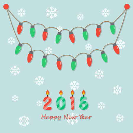fairy party red and green christmas light bulbs, hanging on light green background with snowflakes and happy new year 2015 candles   . Vector