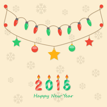 fairy party red and green christmas light bulbs, christmas balls, stars, hanging on light brown background with snowflakes and happy new year 2015 candles   . Vector