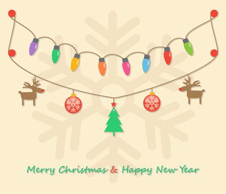 fairy party christmas light bulbs, christmas tree, christmas balls, reindeers  hanging on snowflake light brown background. Vector