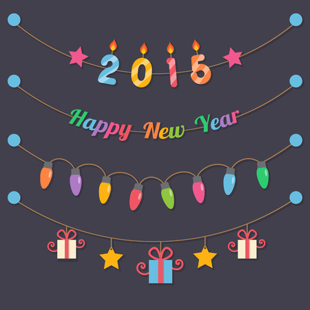 fairy party bulbs, gift boxes, 2015 candle and happy new year sign hanging on dark background. Vector