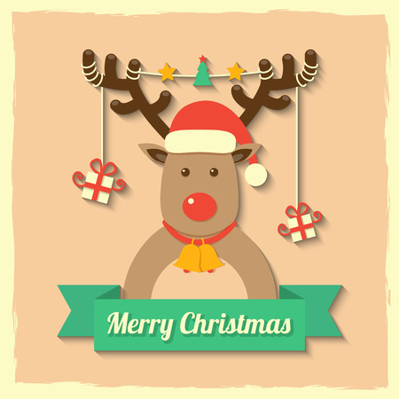 a reindeer wearing christmas red hat with gift boxes hanging on antler with merry christmas on red ribbon badge. Vector