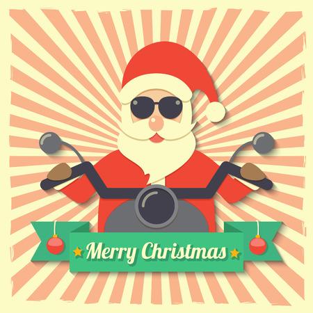pelota caricatura: Pap� Noel con gafas de sol y montar motocicleta en placa cinta Feliz Navidad en fondo estelar.