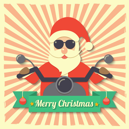 Santa Claus wearing sunglasses and riding motorcycle within Merry Christmas ribbon badge on starburst background. Vector