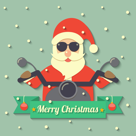flat nose: Santa Claus wearing sunglasses and riding motorcycle within Merry Christmas ribbon badge on snow background. Illustration