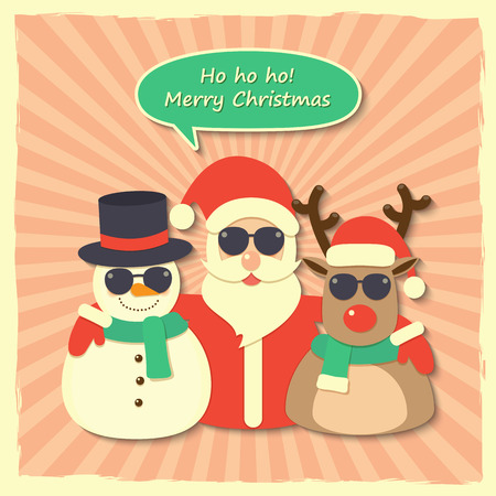 Santa Claus, reindeer and snowman wearing sunglasses with Merry Christmas speech bubble on starburst background. Vector