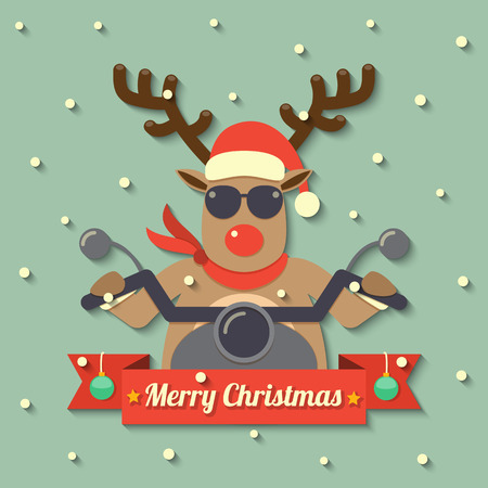 A reindeer wearing sunglasses and riding motorcycle within Merry Christmas ribbon badge on snow background. Illustration