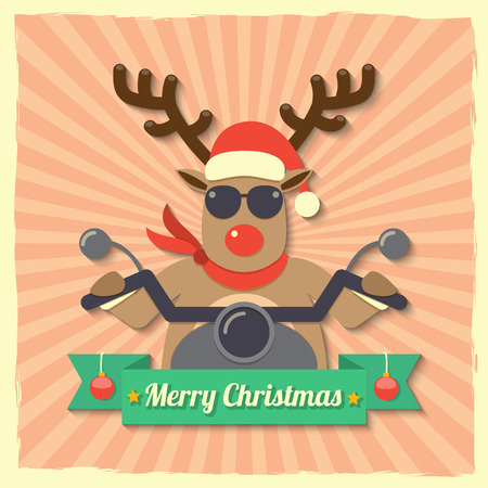 A reindeer wearing sunglasses and riding motorcycle within Merry Christmas ribbon badge on starburst background. Illustration