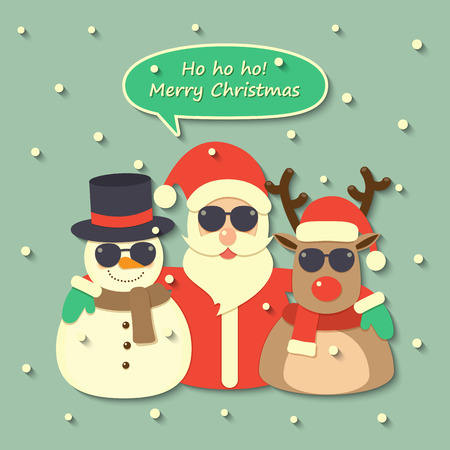 Santa Claus, reindeer and snowman wearing sunglasses with Merry Christmas speech bubble on snow background.