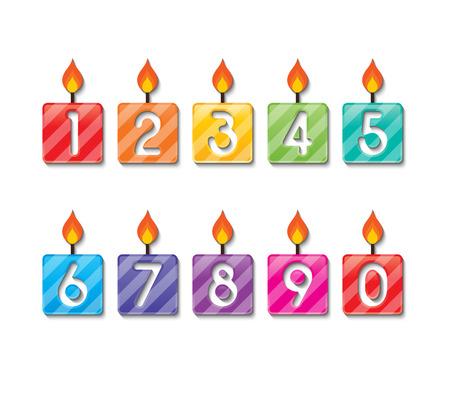 number candles: conjunto de coloridas velas de cumplea�os n�mero felices.