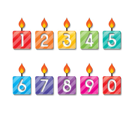 number candles: set of colorful happy birthday number candles.