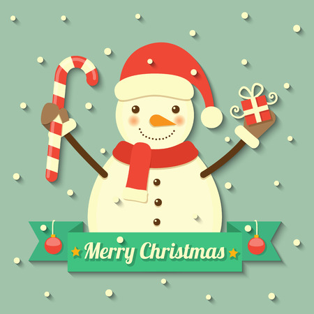 christmas hat: snowman wearing Christmas hat and scarf holding gift box and sweet within ribbon badge with snow background.