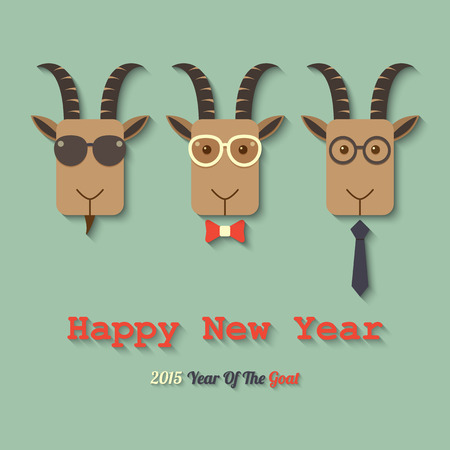 three goats wearing glasses within 2015 year of the goat sign. Vector