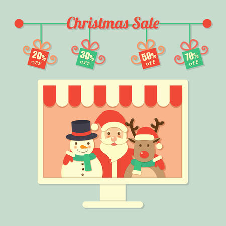 flat nose: Santa Claus, reindeer and snowman within computer screen and Christmas sale sign. Illustration