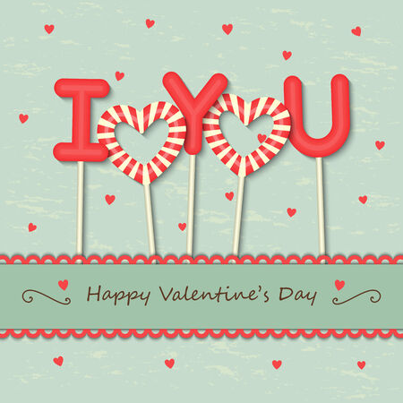 I Love you sweet candy with frame and ribbon on hearts background. Vector