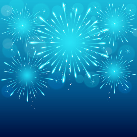 exploding fireworks on blue blurry night sky background. Banco de Imagens - 34742675