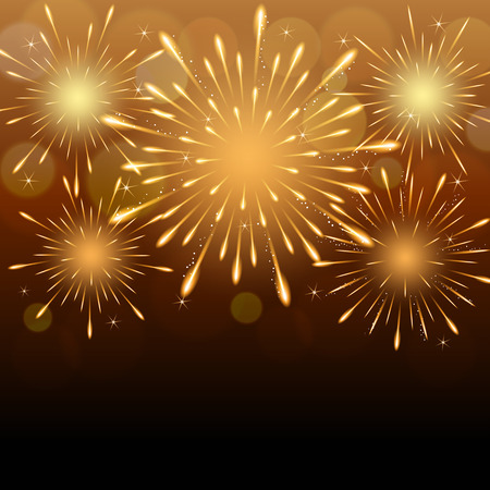exploding fireworks on golden blurry night sky background.  イラスト・ベクター素材