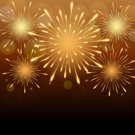 exploding fireworks on golden blurry night sky background. Stock Illustratie