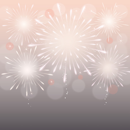 exploding fireworks on blurry light night sky background. Ilustração