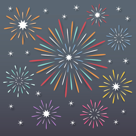 celebration party: colorful paper exploding fireworks on dark night background. Illustration