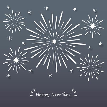Papier blanc explosant feu d'artifice sur fond sombre de la nuit avec le nouveau signe heureuse année. Banque d'images - 34771558