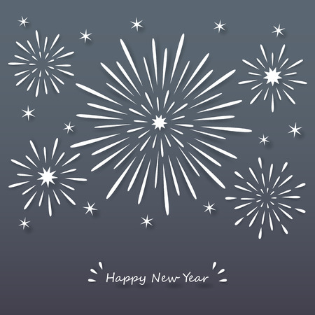 white paper exploding fireworks on dark night background with happy new year sign.
