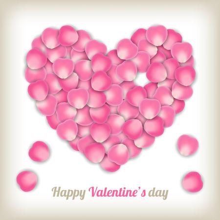 pink rose petals: vintage pink rose petals in heart shape. Illustration