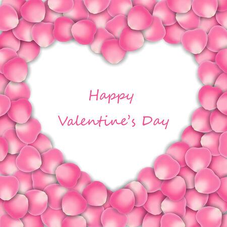 wedding love: vintage pink rose petals in heart shape. Illustration