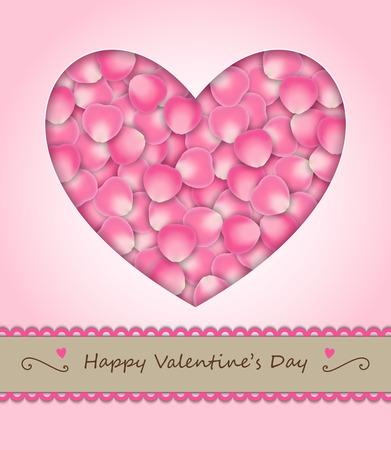 pink rose petals: vintage pink rose petals in heart shape with happy valentine Illustration