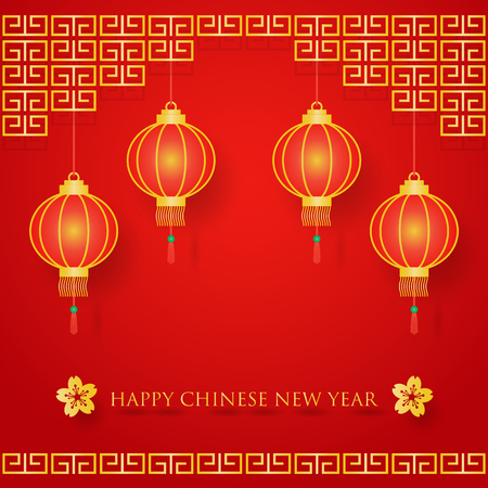 chinese new year decoration: Chinese new year decoration on red background