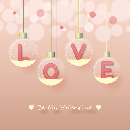 love sign in pink color in snow globe hanging on glowing blurry pink gold background. Vector