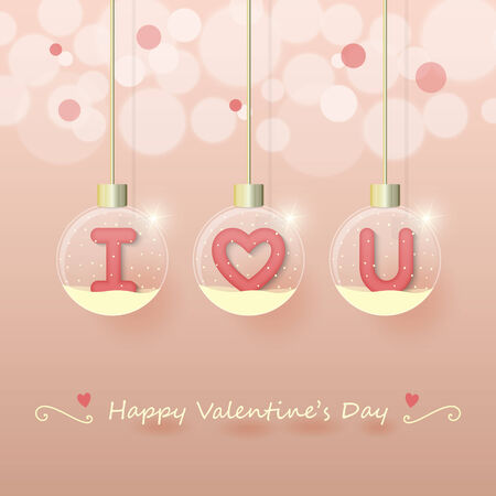 I love you sign in snow globe hanging on glowing blurry pink gold background. Vector