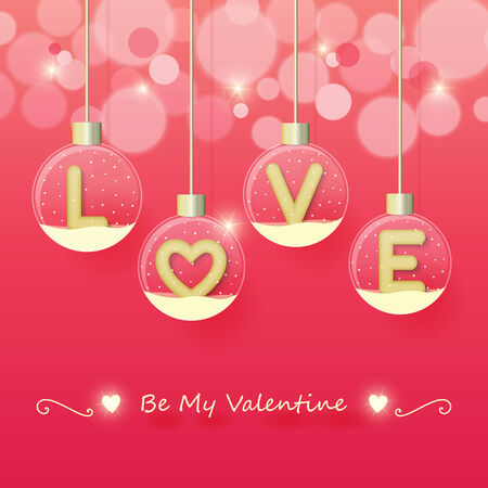 love sign in snow globe hanging on glowing blurry pink background. Vector