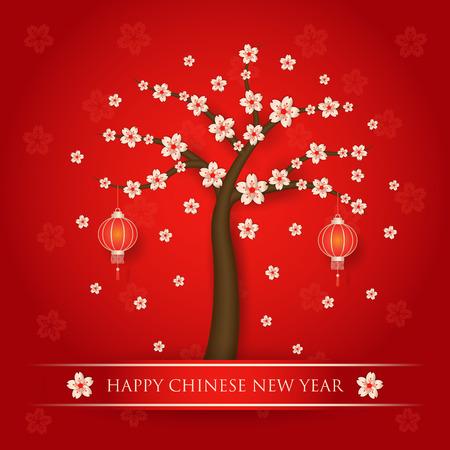 Nouvel an chinois avec l'arbre de fleurs de cerisier sur fond rouge Banque d'images - 35513091