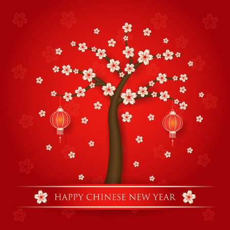 Chinese new year with cherry blossom tree on red background