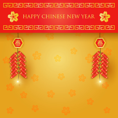Chinese new year celebration with firecrackers on red and gold background Vectores