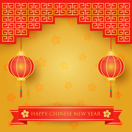 chinese new year decoration: Chinese new year decoration on red and gold with cherry blossom flowers background. Illustration
