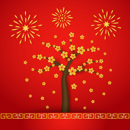 Chinese new year with cherry blossom tree and fireworks on red background