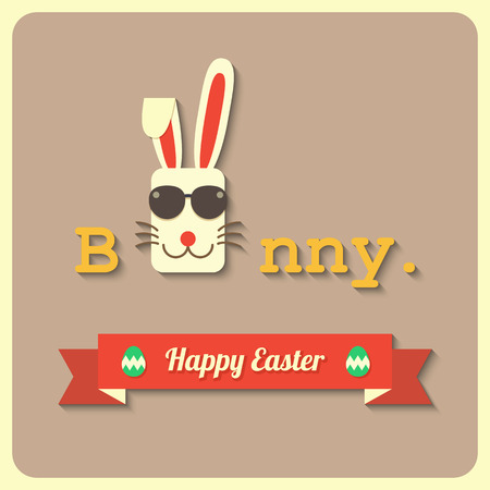 easter sign: a rabbit wearing glasses with happy easter sign.