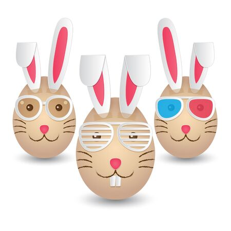 Three Easter eggs painted with rabbit faces and taped with paper rabbit ears. Vector