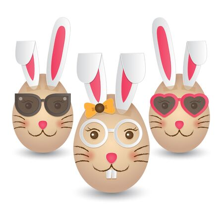 humor glasses: Three Easter eggs painted with rabbit faces and taped with paper rabbit ears.