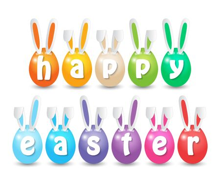 colorful painted Easter eggs taped with paper rabbit ears and letters. Vector