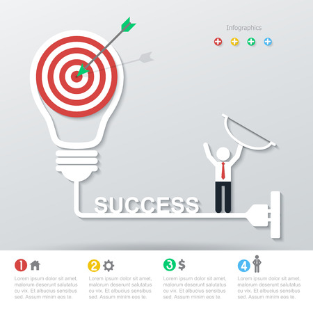 success business: target light bulb on success business concept infographics. Illustration