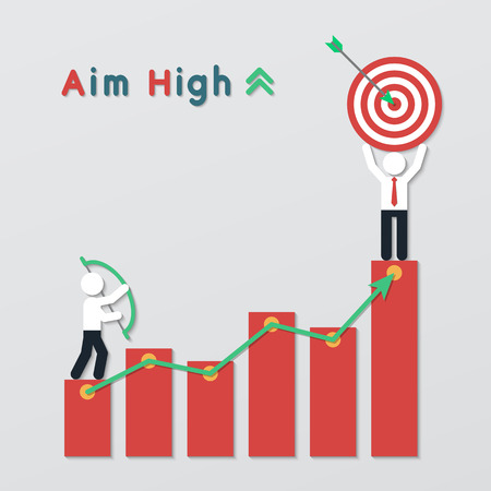 businessmen standing on red graph bar stand holding bow and target. aim high business plan concept in modern flat style. Ilustração