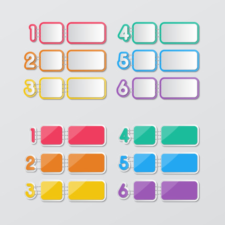 two set of blank colorful paper speech bubbles and 1-6 number buttons in flat style. Vector