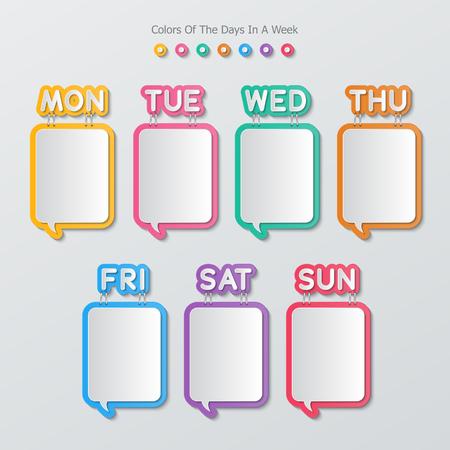 discours de papier bulles agrafé avec les noms des jours dans une semaine dans le style plat.