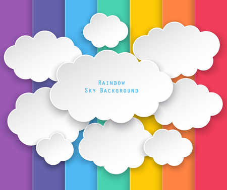 paper clouds on paper rainbow sky background. Çizim