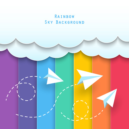 paper clouds and planes flying on rainbow sky background. Vectores